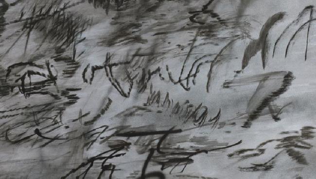 Julie Mehretu Heavier than air (written form), 2014 Tinta y acrílico sobre lienzo, 122 x 183 cm. (JM 1090.14). Cortesía de la artista y Marian Goodman Gallery, Nueva York. © Julie Mehretu | Ir al evento: 'Julie Mehretu. Una historia universal de todo y nada'. Exposición de Pintura en Centro Botín / Santander, Cantabria, España