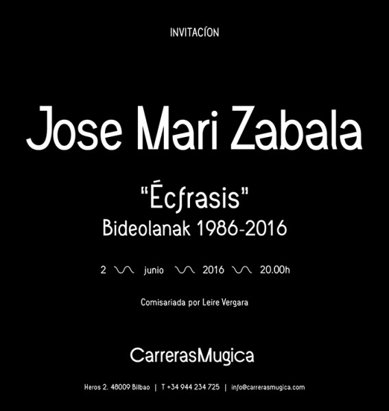 Jose Maria Zabala, Écfrasis. Bideolanak 1986-2016