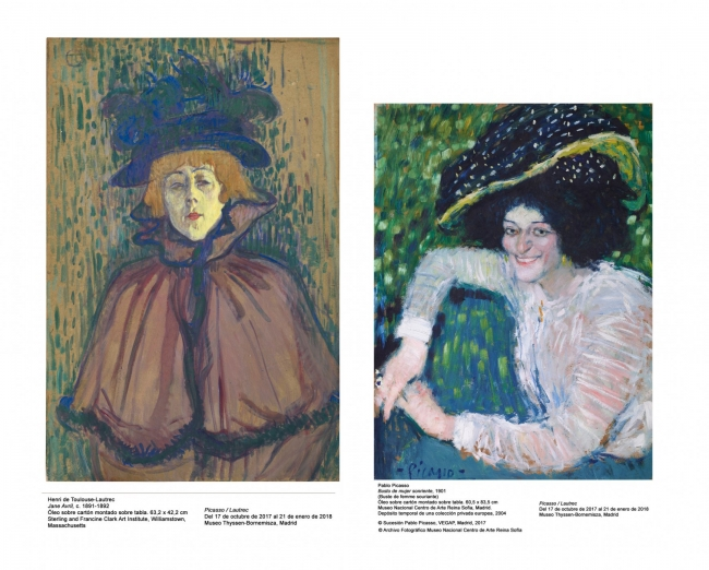 Toulouse-Lautrec, Jane Avril, c.1891-1892. Sterling and Francine Clark Art Institute // Picasso, Busto de mujer sonriente, 1901 © Sucesión Pablo Picasso, VEGAP, Madrid 2017 © Archivo Fotográfico MNCARS - Cortesía del Museo Thyssen-Bornemisza