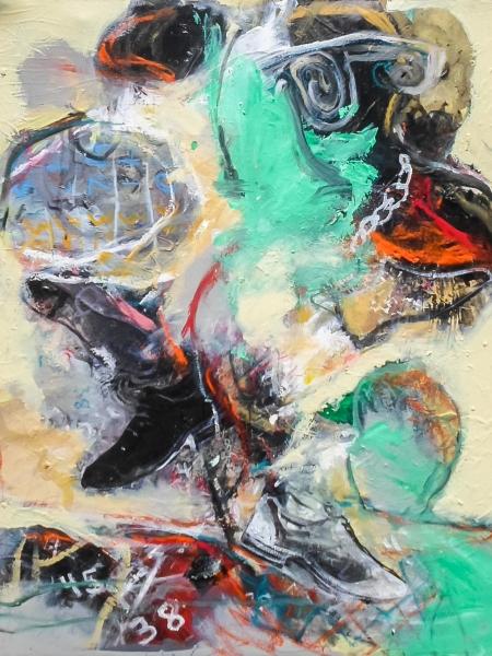 "Francis Mampuya - ""La Sape"" - 2017 - 100cm Alt x 80cm A - Acrílico, óleo, pasteles sobre tela"