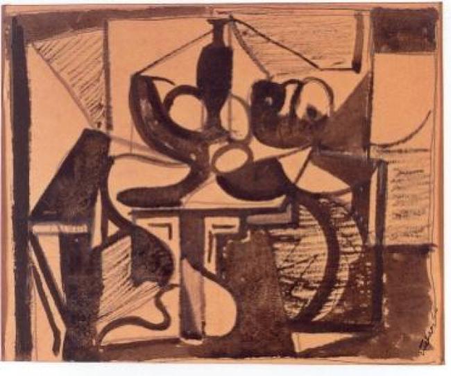 Esteban Vicente, Untitled (Still Life), 1944. Tinta y lápiz sobre papel, 16,5 x 20,5 cm. Museo de Arte Contemporáneo Esteban Vicente