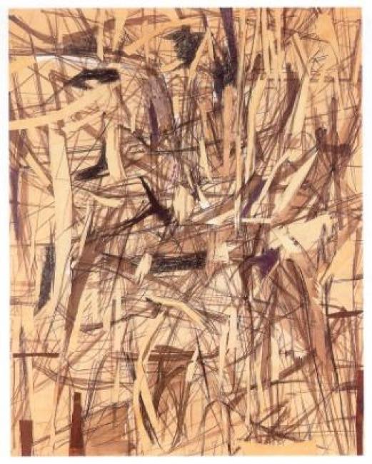 Esteban Vicente, Untitled, 1950. Papel, tinta y carboncillo sobre cartón, 63 x 50,5 cm. Museo de Arte Contemporáneo Esteban Vicente
