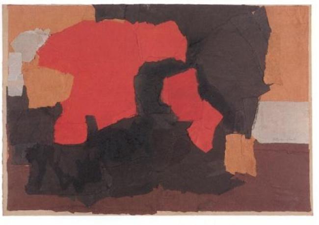 Esteban Vicente, Black, Red and Brown, 1962. Papel coloreado sobre cartón, 65 x 97 cm. Museo de Arte Contemporáneo Esteban Vicente