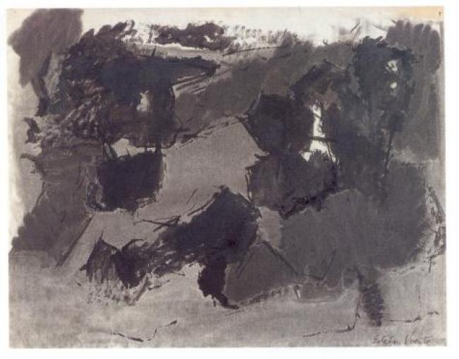 Esteban Vicente, Untitled, 1960. Carboncillo y tinta sobre papel, 50 x 65 cm., Museo de Arte Contemporáneo Esteban Vicente