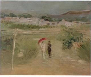 Esteban Vicente, Paisaje con sombrilla roja, 1931. Óleo sobre lienzo, 33 x 41 cm. Museo de Arte Contemporáneo Esteban Vicente