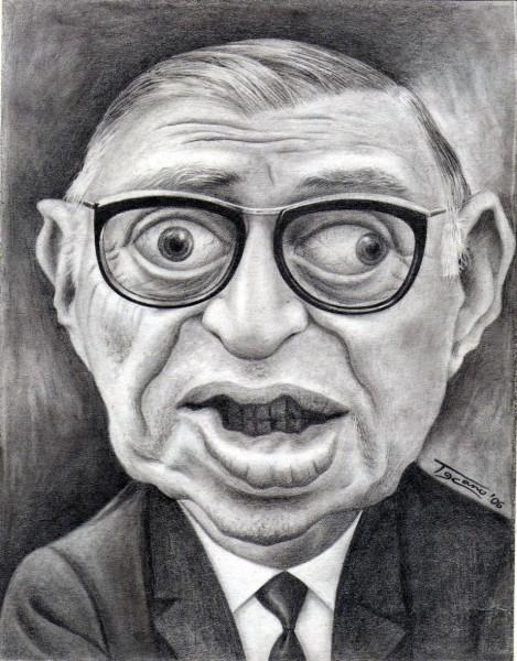 Jean Paul Sartre - Dibujo de Walter Toscano