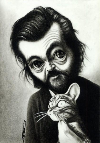 Julio Corta?zar - Dibujo de Walter Toscano
