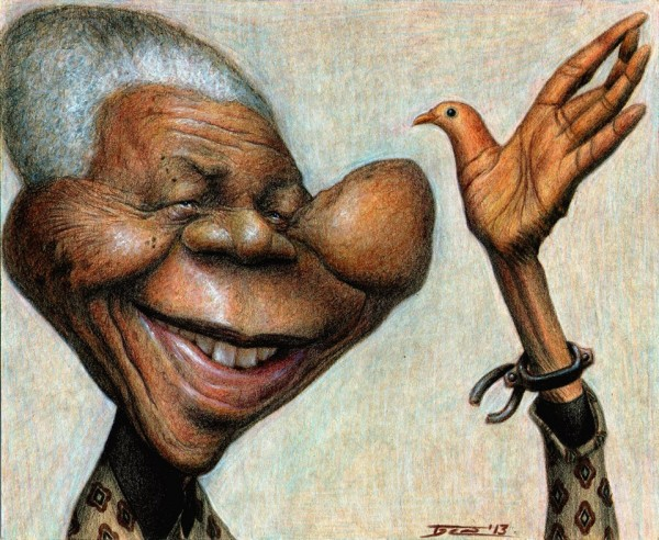 Nelson Mandela - dibujo de Walter Toscano