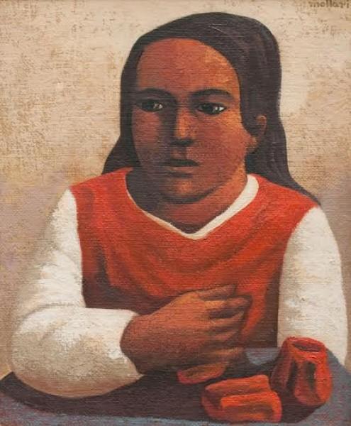 Mario Mollari, La Campesina. Óleo/Arpillera. 60 x 50 cm. | Ir al evento: 'Subasta'. Subasta en Galería Roca - Subastas de Arte / Buenos Aires, Argentina
