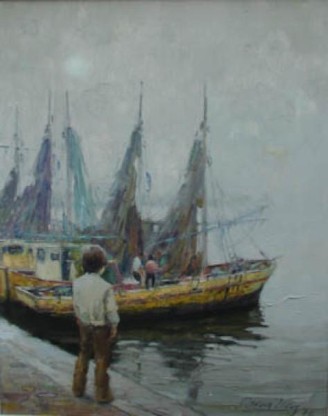 Óscar Vaz, Pesquero del Río, 1976. Óleo/Tela. 50 x 40 cm. | Ir al evento: 'Subasta'. Subasta en Galería Roca - Subastas de Arte / Buenos Aires, Argentina