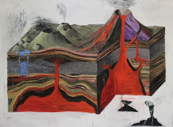Eduardo Berliner, Volcano, 2014. Oil on canvas, 290 x 220 cm.