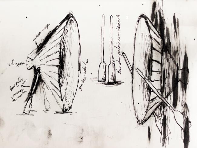 Marcos Avila Forero, Étude pour Une autre « Perses » d'Eschyle, encre sur papier, 2017