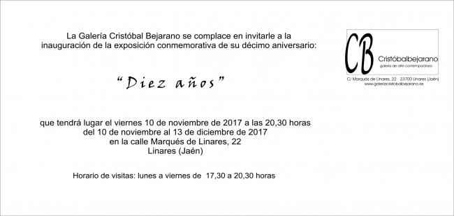 Diez años   Ir al evento: 'Diez años'. Exposición de Artes gráficas, Escultura, Fotografía, Pintura en Galería Cristóbal Bejarano / Linares, Jaén, España