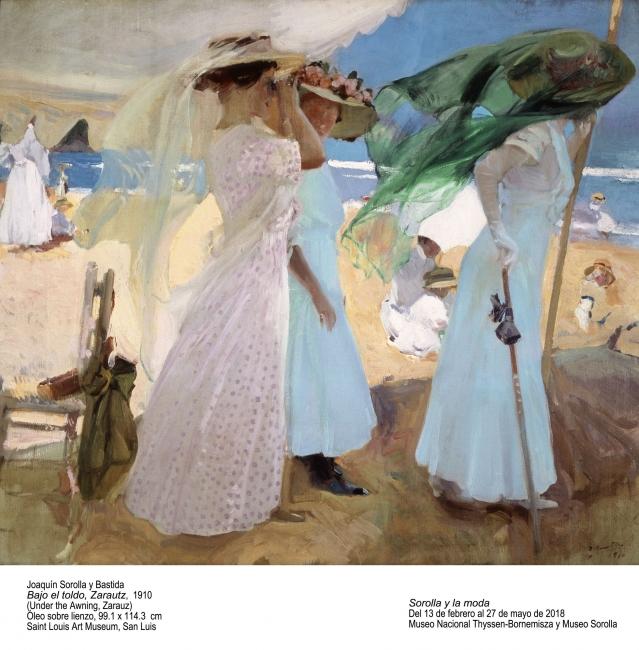Joaquín Sorolla, Bajo el toldo, Zarauz, 1910. Óleo sobre lienzo, 99'1x114'3 cm. Saint Louis Art Museum  – Cortesía del Museo Nacional Thyssen-Bornemisza