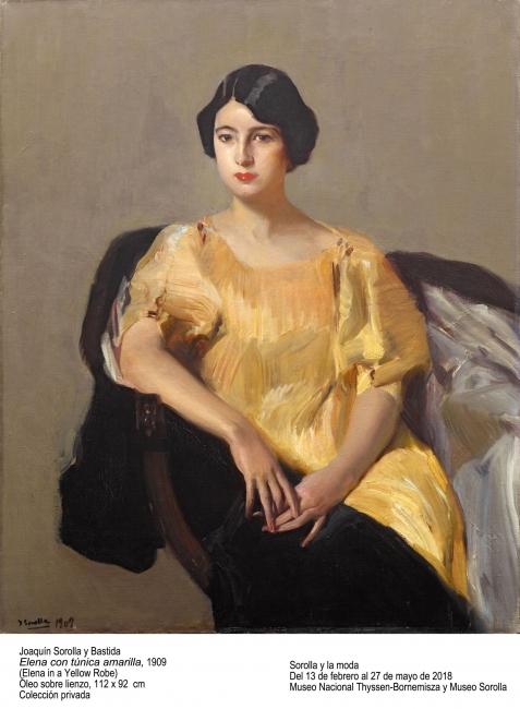 """Joaquín Sorolla, """"Elena con túnica amarilla"""", 1909. Óleo sobre lienzo, 112x92 cm. Colección privada – Cortesía del Museo Nacional Thyssen-Bornemisza"""