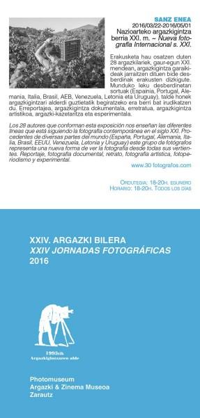 """Cartel de la exposición \""""Nueva fotografía internacional en el siglo XXI\"""" en la sala Sanz Enea."""