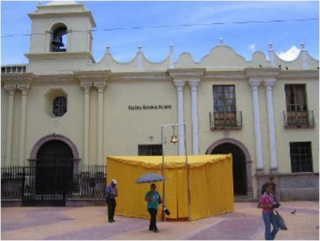 Pablo Helguera, The School of Pan-American Unrest , 2006, Installation view, Schoolhouse in front of the Galeria Nacional de Arte, Honduras, courtesy of the Artist