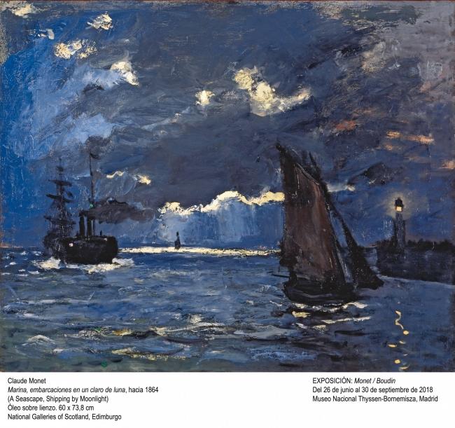 Claude Monet, Marina, embarcaciones en un claro de luna, hacia 1864. National Galleries of Scotland, Edimburgo — Cortesía del Museo Nacional Thyssen-Bornemisza