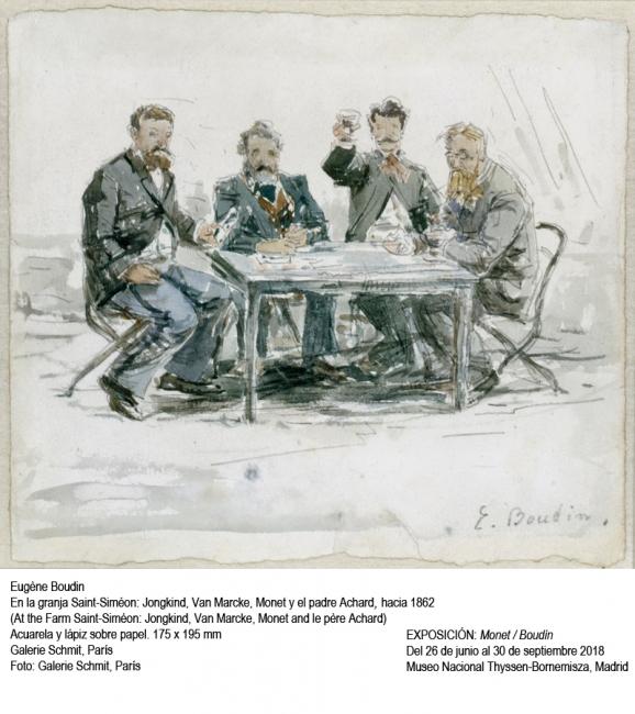 Eugéne Boudin, En la granja Siméon: Jongkind, Van Marcke, Monet y el padre Achard, 1862. Galerie Schmit, París. Foto: Galerie Schmit — Cortesía del Museo Nacional Thyssen-Bornemisza
