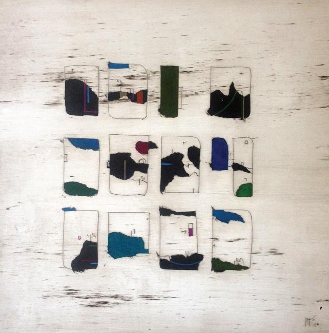 Manu vb Tintoré, Joc de cartes 7, 2017. Esmalte y lápiz de color sobre papel grabado. 30 x 30 cm – Cortesía de N2 Galería