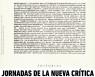 JORNADAS DE LA NUEVA CRÍTICA