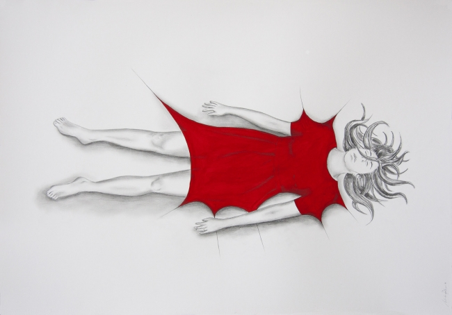 Natalia Pastor. Serie inercias, 2018. Lápiz y tinta sobre papel.70 x 100 cm . Cortesía de Galería Caicoya