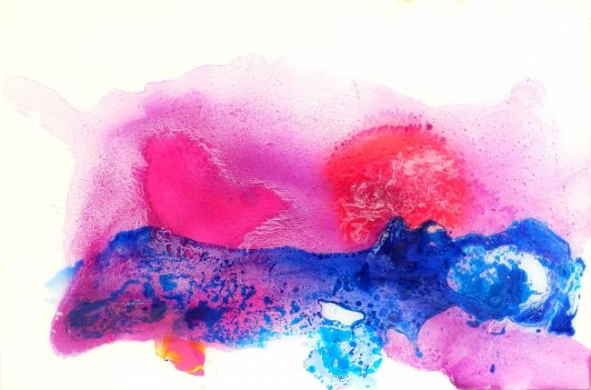 Pablo Lambertos, 'Gran mancha violeta', técnica mixta sobre metacrilato, 50x75 cm., 2017 – Cortesía de Galería BAT Alberto Cornejo