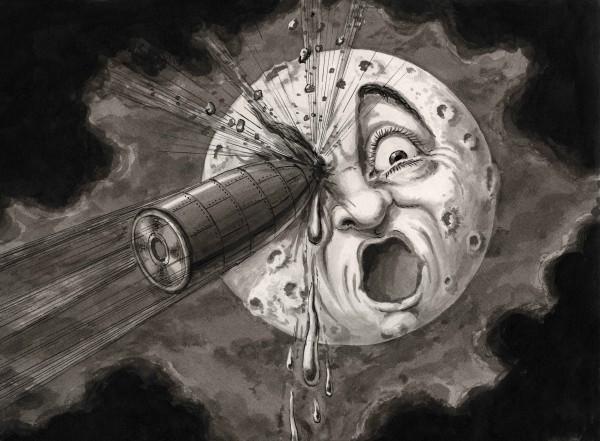 Georges Méliès. «¡¡De lleno en el ojo!! (9º cuadro)», recomposición de una escena de la película Voyage dans la Lune [Viaje a la Luna, 1902] c. 1930. © La Cinémathèque française. Foto: Stéphane Dabrowski