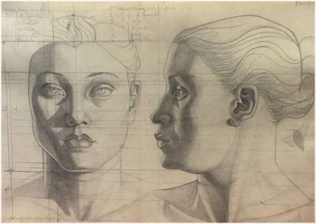 Maruja Mallo, Cabeza de frente y perfil | Ir al evento: 'Maruja Mallo. Creación y Orden'. Exposición de Fotografía, Pintura en Guillermo de Osma / Madrid, España