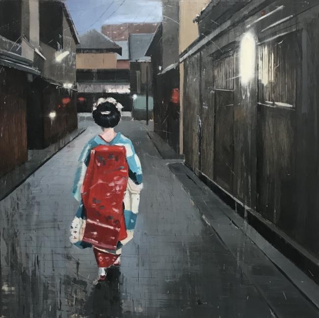 Kyoto en gris - 70x70 cms | Ir al evento: 'Belén Cobaleda García-Bernalt'. Exposición de Pintura en Montsequi / Madrid, España