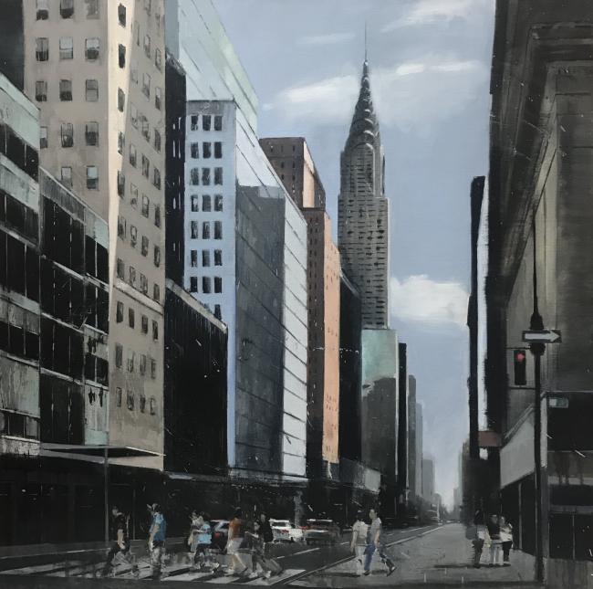 Nueva York en azul II - 100x100 cms | Ir al evento: 'Belén Cobaleda García-Bernalt'. Exposición de Pintura en Montsequi / Madrid, España