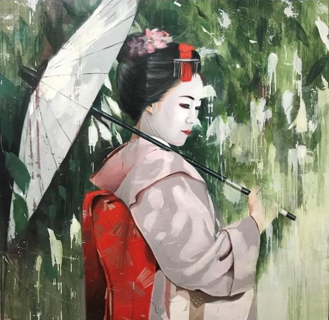 Tokio en rojo   -   óleo/lienzo   -   120x120cms