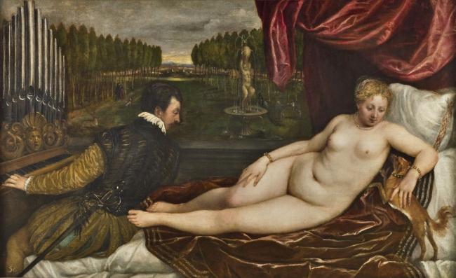 Venus recreándose en la MúsicaTiziano, Vecellio di GregorioÓleo sobre lienzo, 138 x 222,4 cm Hacia 1550Madrid, Museo Nacional del Prado – Cortesía del Museo del Prado