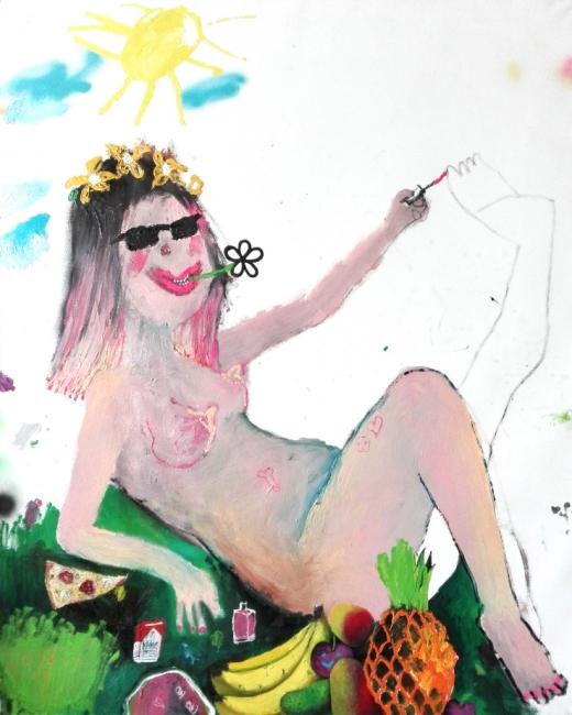 Bel Fullana, Tarzana se pinta las uñas. Óleo sobre lienzo. 162x130cm. – Cortesía de la Galeri?a Herrero de Tejada