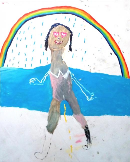 Bel Fullana, Tarzana Pipi Shower. Óleo sobre lienzo, 162x130 cm. – Cortesía de la Galeri?a Herrero de Tejada