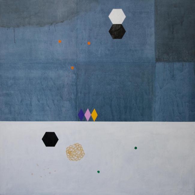 DESDOBRAS. Ayao Okamoto, ''Mapa de astronomia'', 2017, 150 cm x 150 cm, técnica mista sobre tela. Imagen cortesía Gabinete MATIAS J RIBEIRO