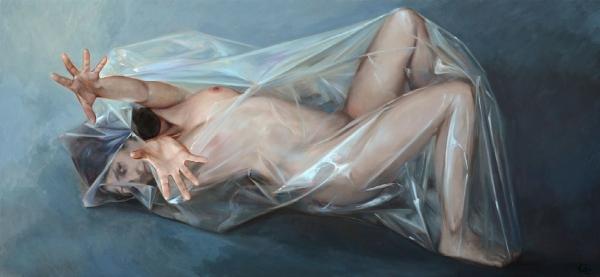 Lluís Ribas, Alliberament de la dona II (2012) Ref. F464, Oli sobre tela, 60x130 cm.