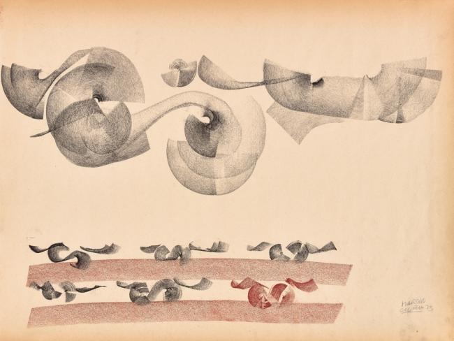 Martín Chirino. Colección Chicago XXII, 1973, barra conté y ceras sobre papel, 45,5 x 61 cm – Cortesía de la Galería Marlborough