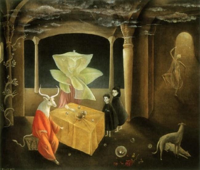 Leonora Carrington, Y entonces vimos a la hija del Minotauro, 1953. Óleo/lienzo, 60x70 cm Col. particular © Colección particular © Leonora Carrington, VEGAP, Málaga, 2017 – Cortesía Museo Picasso Málaga