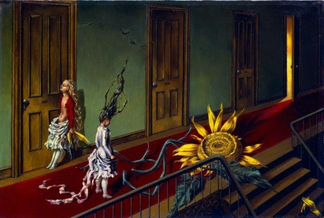 Dorothea Tanning, Eine Kleine Nachtmusik, 1943. Tate: Adquirido con ayuda del Art Fund y del American Fund for the Tate Gallery 1997 © Tate, London 2017 © The Estate of Dorothea Tanning / ADAGP, Paris/ VEGAP, Málaga, 2017 – Cortesía Museo Picasso Málaga