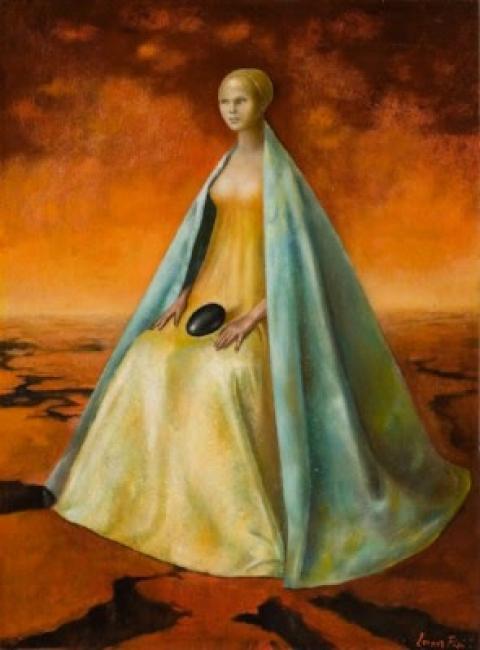 Leonor Fini, La guardiana del huevo negro, 1955. Óleo sobre lienzo, 74x54 cm. Colección FEMSA © Colección FEMSA © Leonor Fini, VEGAP, Málaga, 2017– Cortesía Museo Picasso Málaga