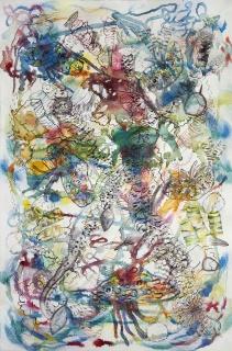 Anaïs Senli, Ohne Titel, mixta sobre paper, 120 × 80 cm – Cortesía de la Sala Parés