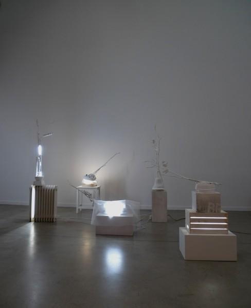 """Foto conjunto de esculturas de la exposición \""""Flowers & Faces\"""", 2016"""