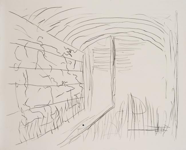 Pedro Calapez, Vago 04, 2018, carvão e grafite sobre papel |  141 x 175 cm., série Vagos – Cortesía de Galeria João Esteves de Oliveira