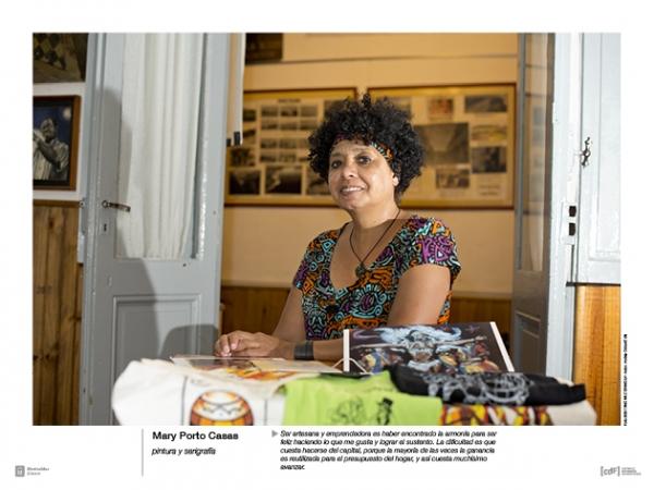 Mary Porto Casas - pintura y serigrafía. Ser artesana y emprendedora es haber encontrado la armonía para ser feliz haciendo lo que me gusta y lograr el sustento. La dificultad es que cuesta hacerse del capital, porque la mayoría de las veces la ganancia e | Ir al evento: 'Mujeres emprendedoras'. Exposición de Fotografía en Espacio Cultural Parque del Plata / Canelones, Uruguay