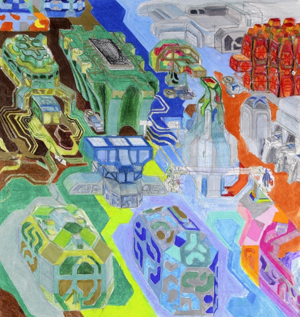 Dialan. Ciudad de microchips. 2017. Dibujo impreso sobre canvas. 230 x 217 cm - Cortesía de la Galería Caicoya | Ir al evento: 'Citartopia'. Exposición en Galería Guillermina Caicoya / Oviedo, Asturias, España