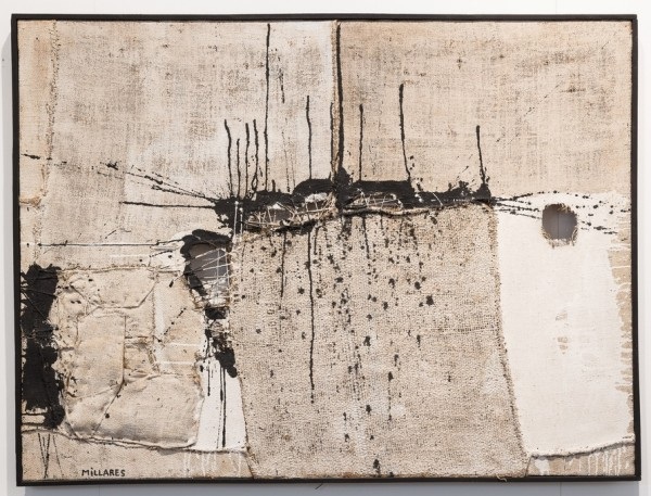 Manolo Millares, Sin título, 1957, mixed media on burlap, 97x130 cm.
