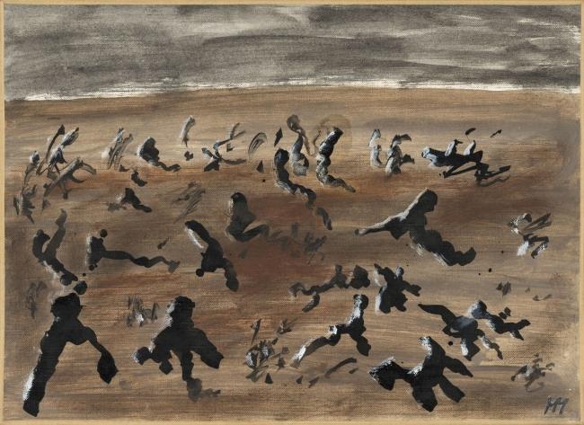 Henri Michaux, Sin título, 1983. Óleo sobre papel de lino, 24x33 cm. © Cortesía Galerie Lelong & Co. Fotografía: Fabrice Gibert – Cortesía del CCCB