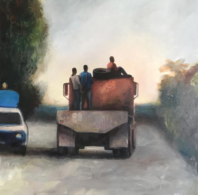 María Peña Coto.  Avanse, 2018 Acrílico sobre lienzo. 90x90 cm. — Cortesía de Caicoya art projects