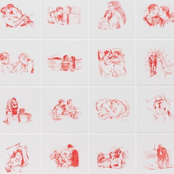 [detalhe] Leda Catunda, Amor e romance, 2017, serigrafia sobre azulejo, 15 x 15 cm. (cada - conjunto de 20). Edição de 25 + 3PA | Ir al evento: 'Tão diferentes, tão atraentes'. Exposición en Carbono Galería / São Paulo, Sao Paulo, Brasil